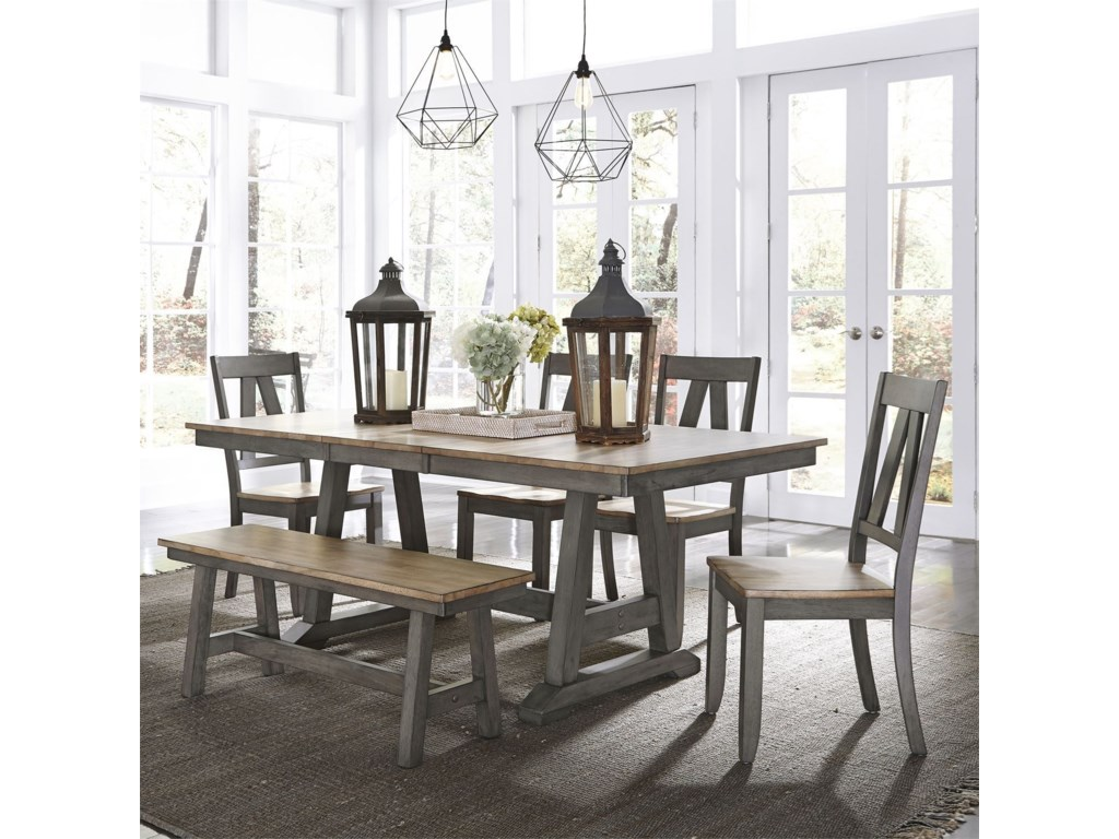 Lindsey Farm Transitional Two Toned 6 Piece Trestle Table Set By Liberty Furniture At Lindy S Company