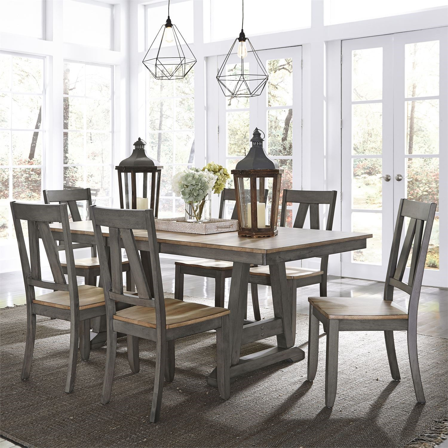 Transitional Two-Toned 7-Piece Trestle Table Set