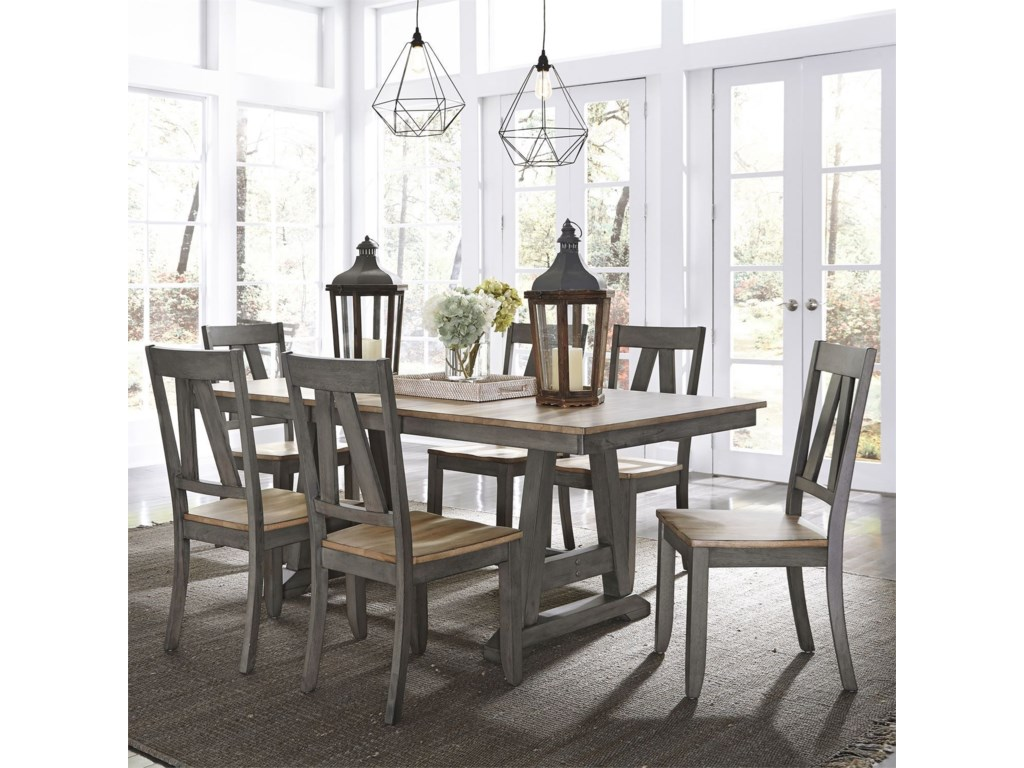 Liberty Furniture Lindsey Farm7-Piece Trestle Table Set