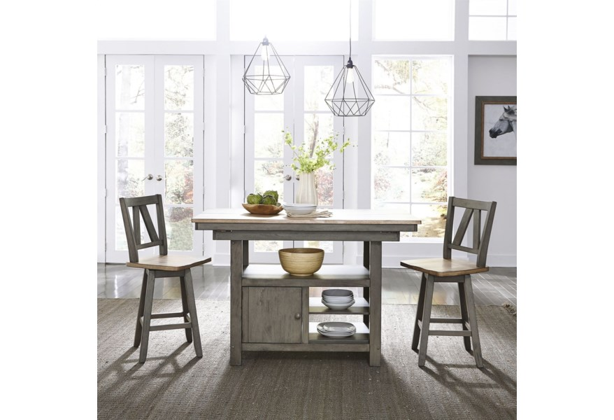 Liberty Furniture Lindsey Farm Transitional Two Toned Kitchen Island With Butterfly Leaf Johnny Janosik Kitchen Islands