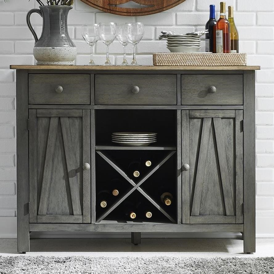 Transitional Two-Toned Server with Wine Rack
