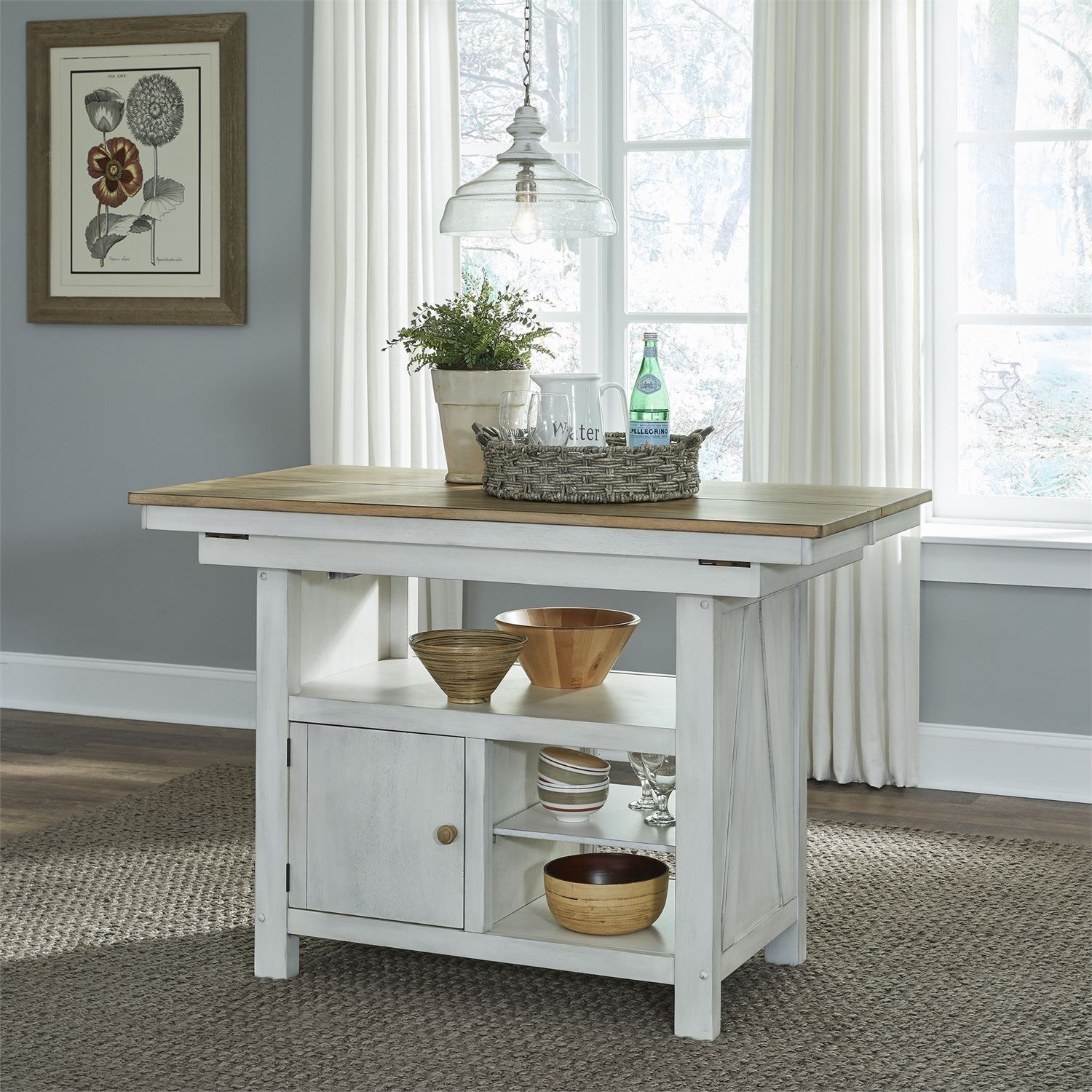 Transitional Two-Toned Kitchen Island with Butterfly Leaf
