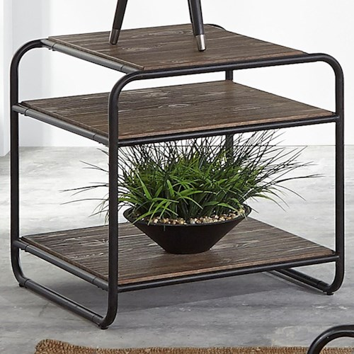 Liberty Furniture Loft House Contemporary End Table with Open Storage Display