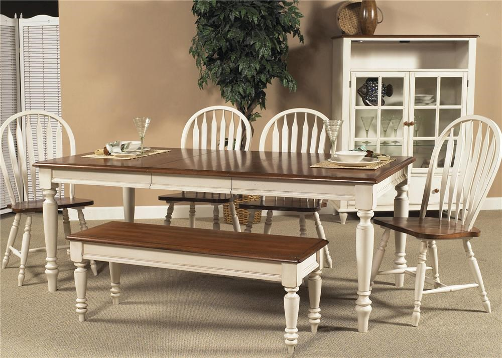 home dining room furniture dining tables liberty furniture low country rectangular dining table shown with windsor side chairs bench and curio cabinet - Low Dining Room Table
