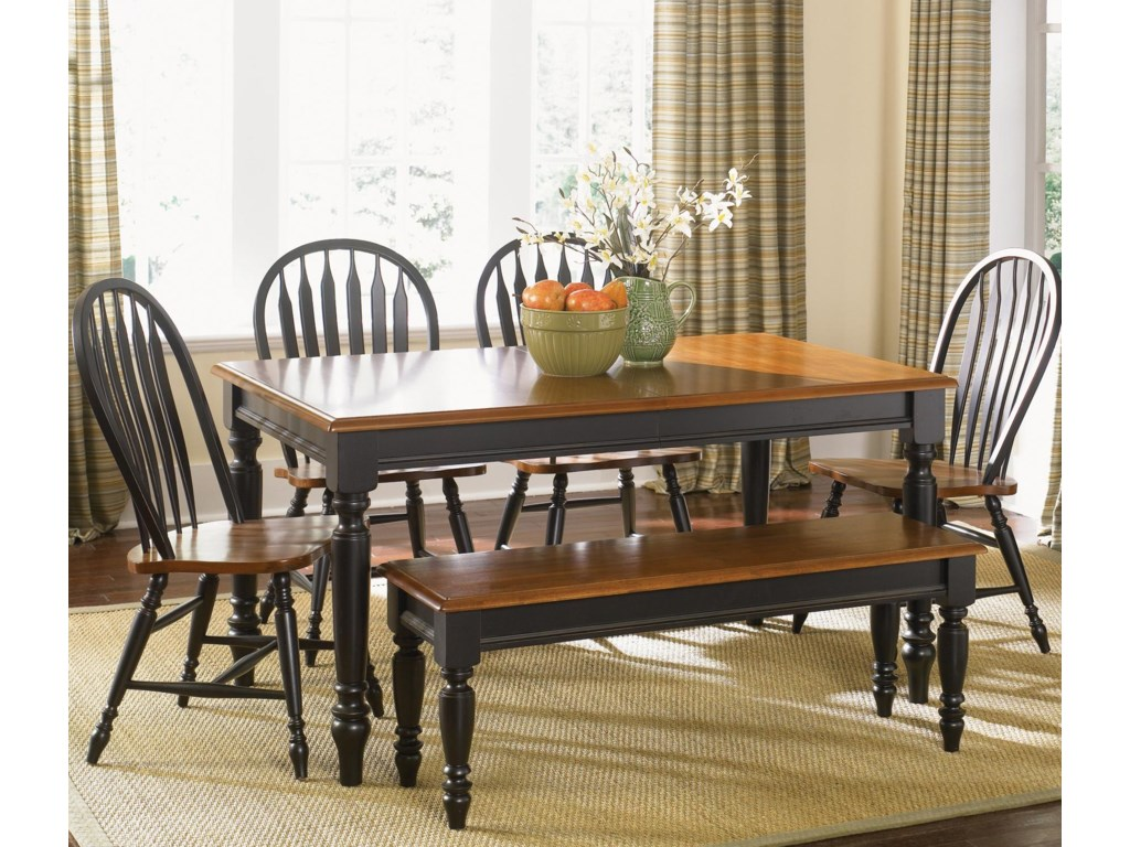 Bench Shown in Room Setting with Windsor Chairs and Rectangular Table