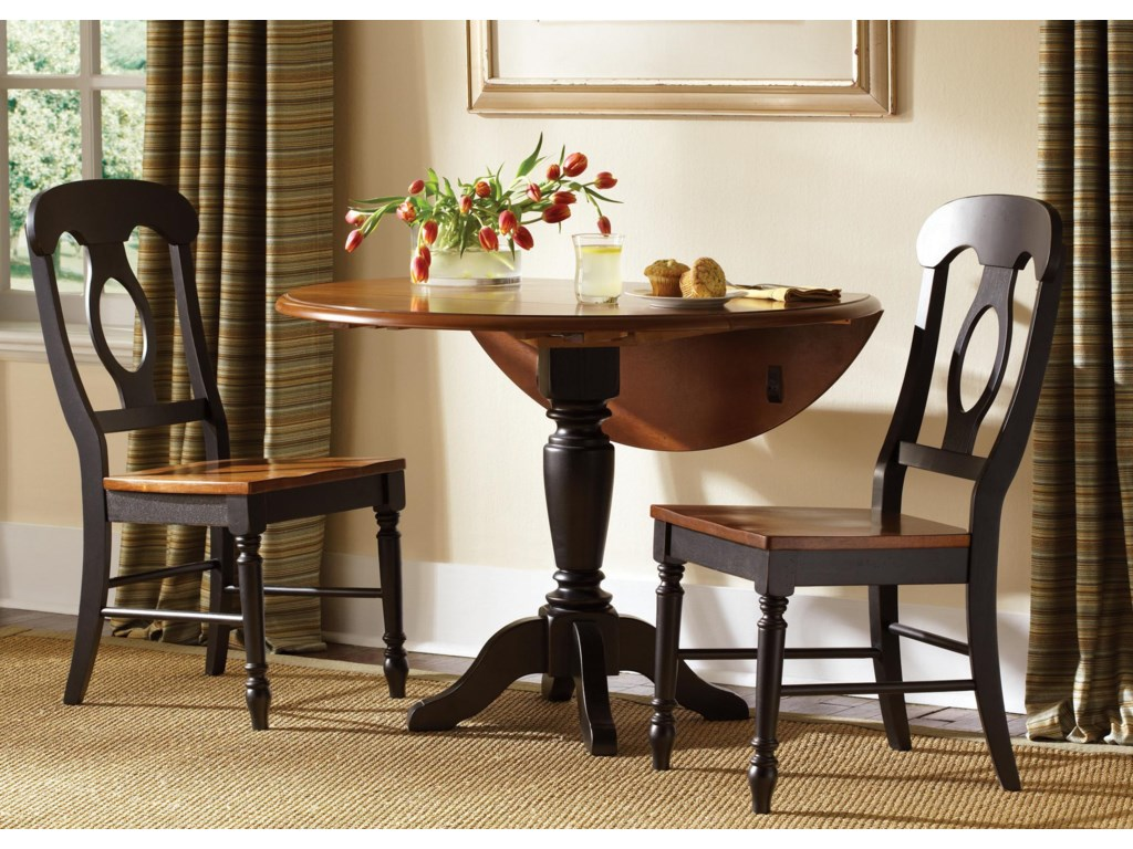 Liberty Furniture Low CountryBlack Drop Leaf Pedestal Table & 2 Side Chai