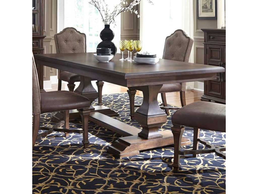 Lucca Traditional Double Pedestal Dining Table With Removable Leaf By Liberty Furniture At Rotmans