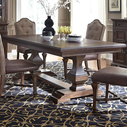 Liberty Furniture Lucca Traditional Double Pedestal Dining Table With Removable Leaf