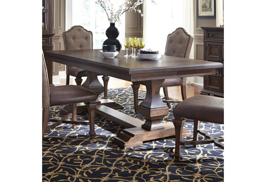 Lucca Traditional Double Pedestal Dining Table with Removable Leaf by  Liberty Furniture at Standard Furniture