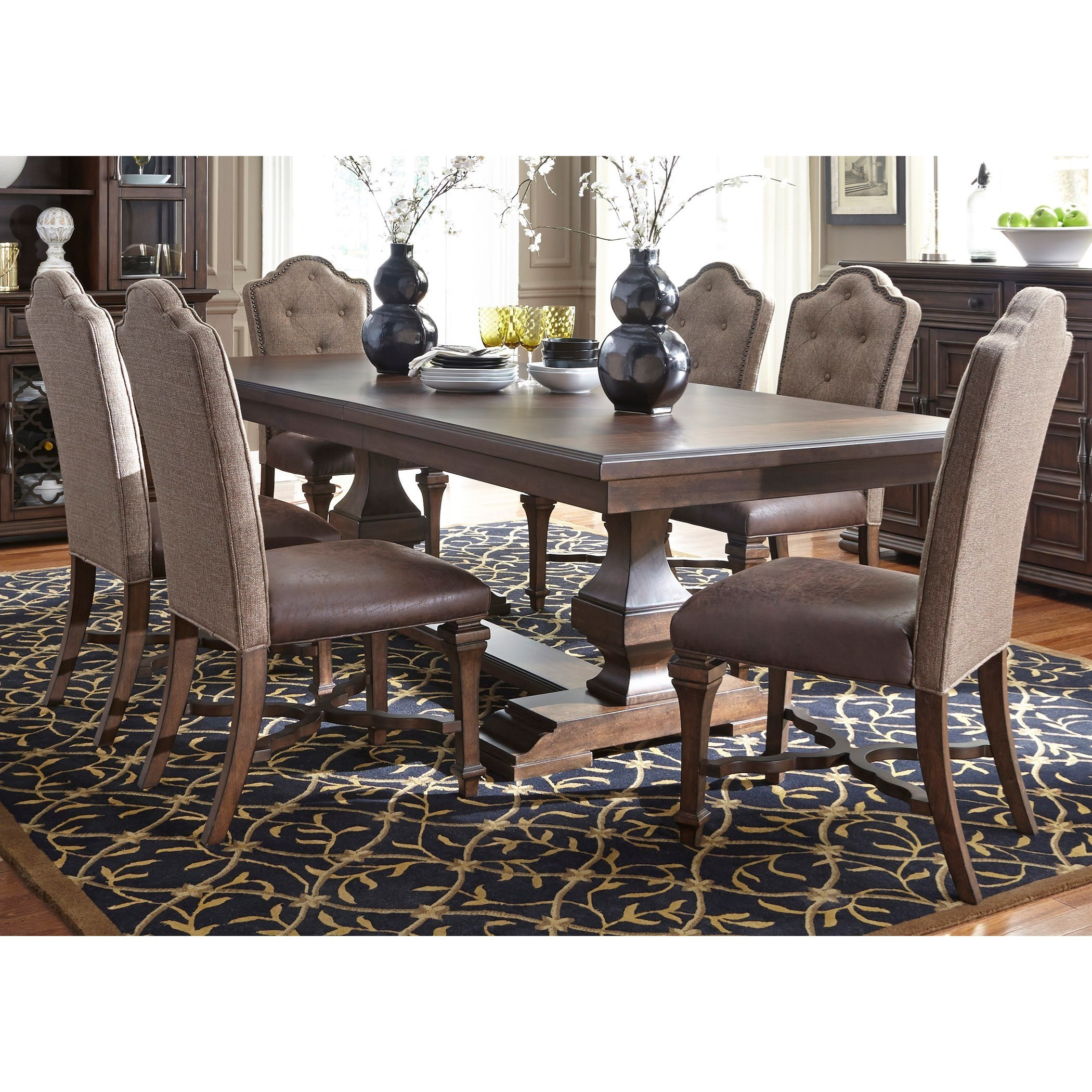 194 & Lucca Formal 7 Piece Two Pedestal Table and Upholstered Chair Set by Liberty Furniture at Wayside Furniture