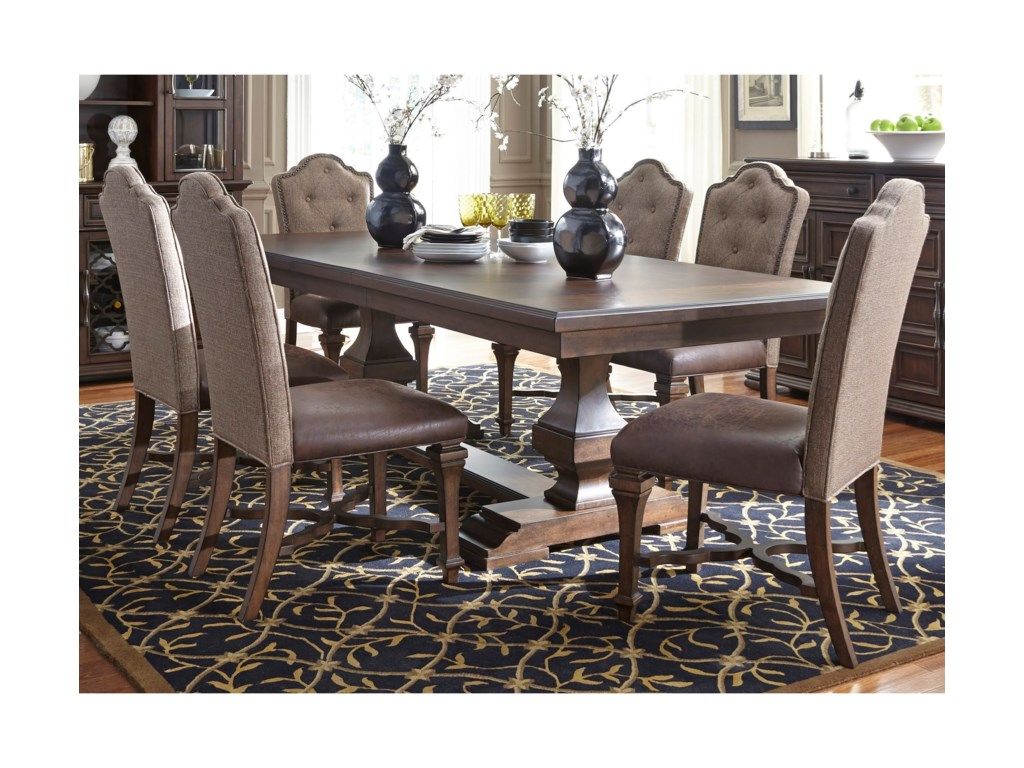 Liberty Furniture Lucca Formal 7 Piece Two Pedestal Table And Upholstered Chair Set Wayside Furniture Dining 7 Or More Piece Sets