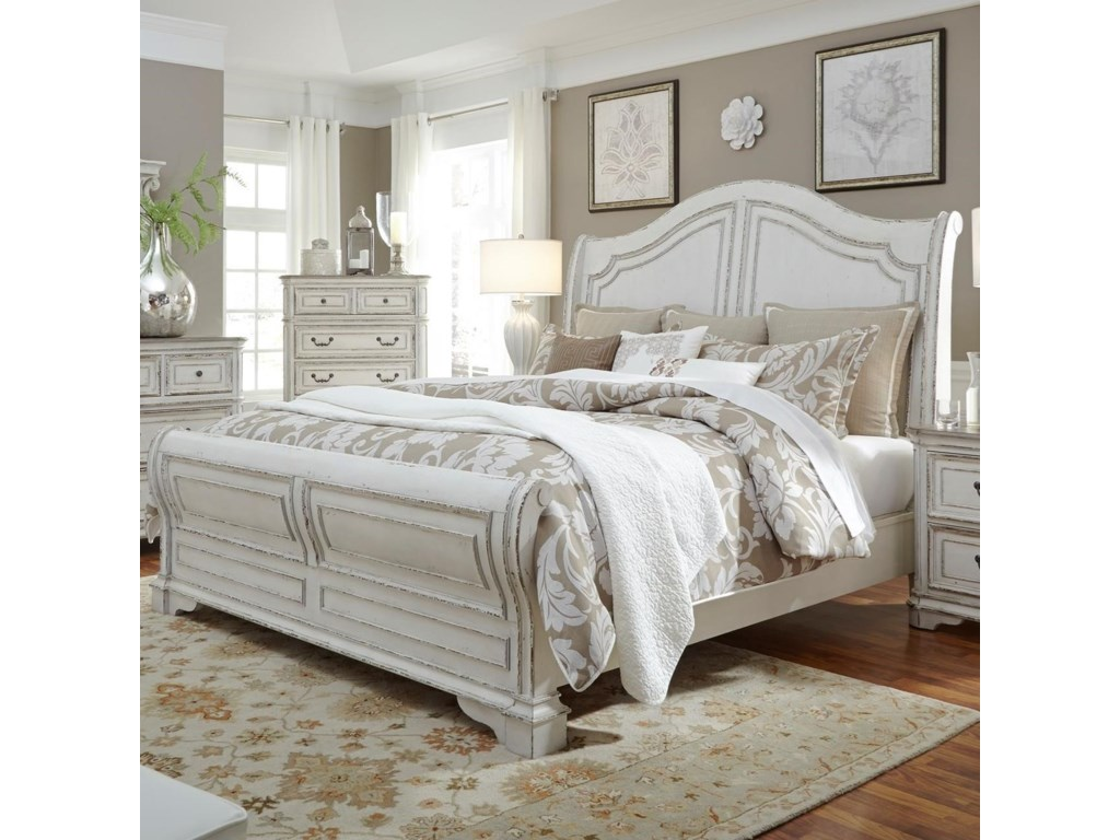 Liberty Furniture Magnolia Manor King Sleigh Bed With Antique White