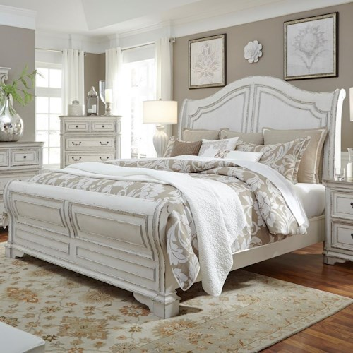 Liberty Furniture Magnolia Manor King Sleigh Bed with Antique White Finish - Liberty Furniture Magnolia Manor King Sleigh Bed With Antique White