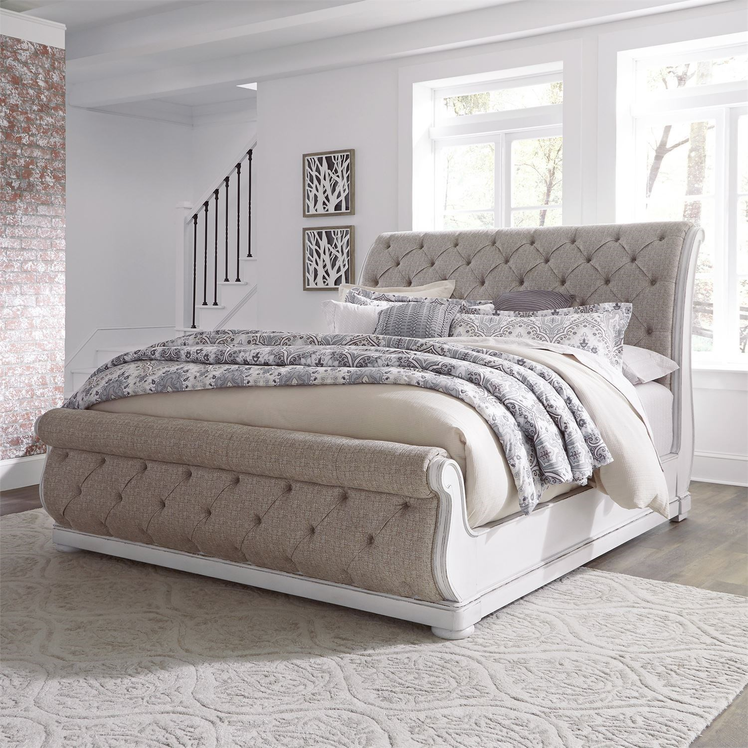 Tufted upholstered sleigh bed Size White Liberty Furniture Magnolia Manorqueen Upholstered Sleigh Bed Faisalawanme Liberty Furniture Magnolia Manor Traditional Queen Upholstered