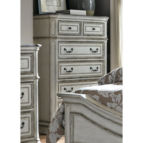 Liberty Furniture Magnolia Manor 5 Drawer Chest with Felt-Lined Top Drawers