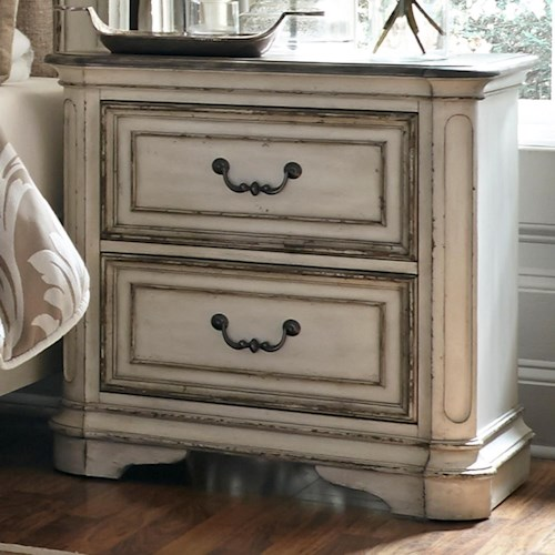 Liberty Furniture Magnolia Manor 2 Drawer Nightstand with Top Felt-Lined Drawer