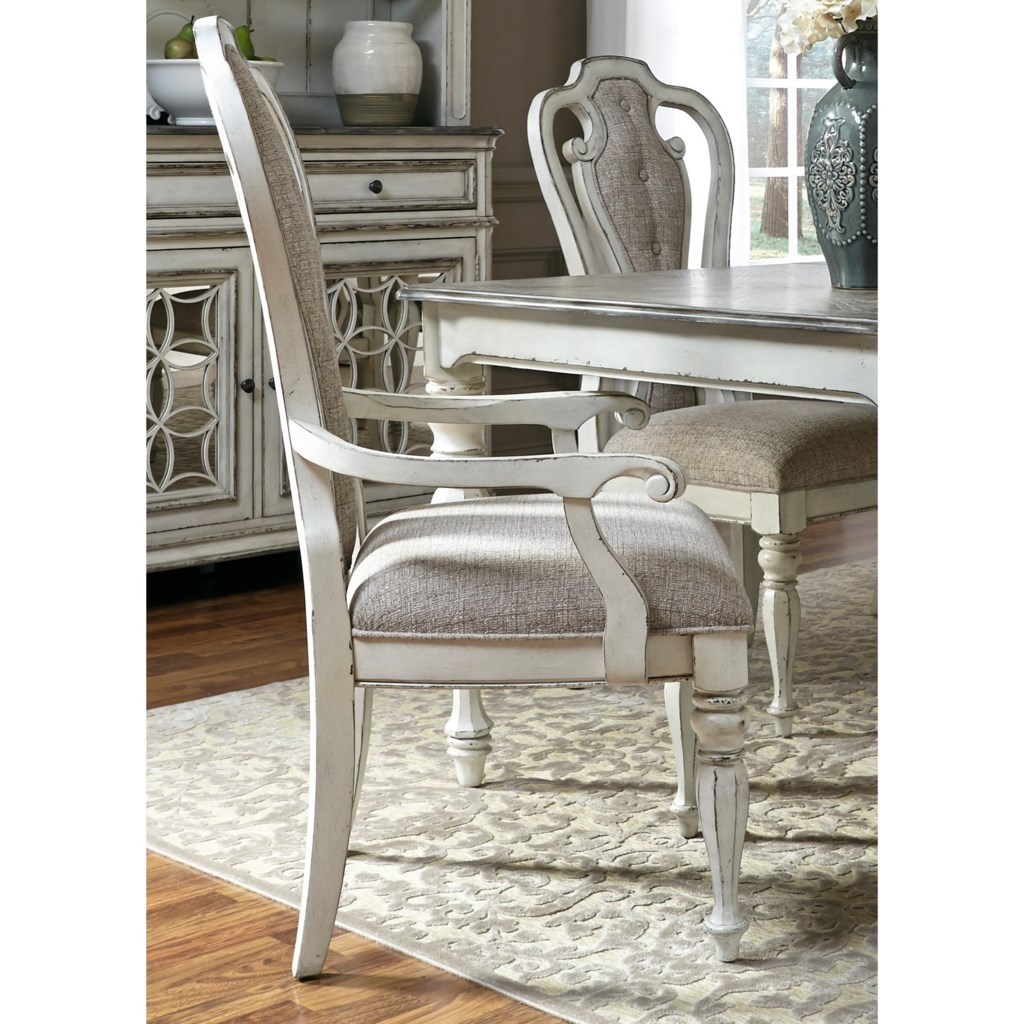 Dining Arm Chairs Upholstered liberty furniture magnolia manor dining splat back arm chair with