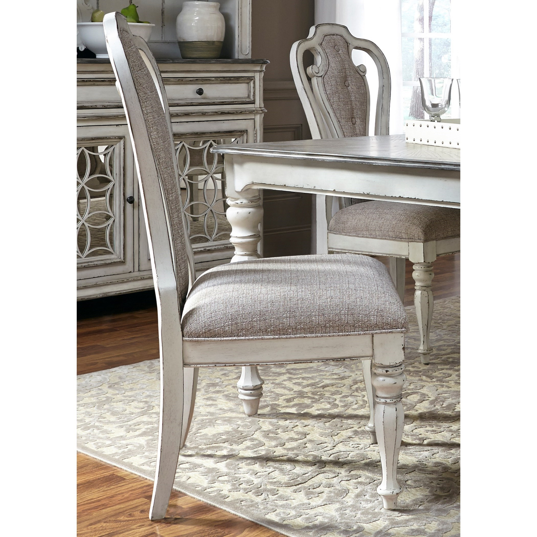 Liberty Furniture Magnolia Manor Dining Splat Back Side Chair With  Upholstered Seat