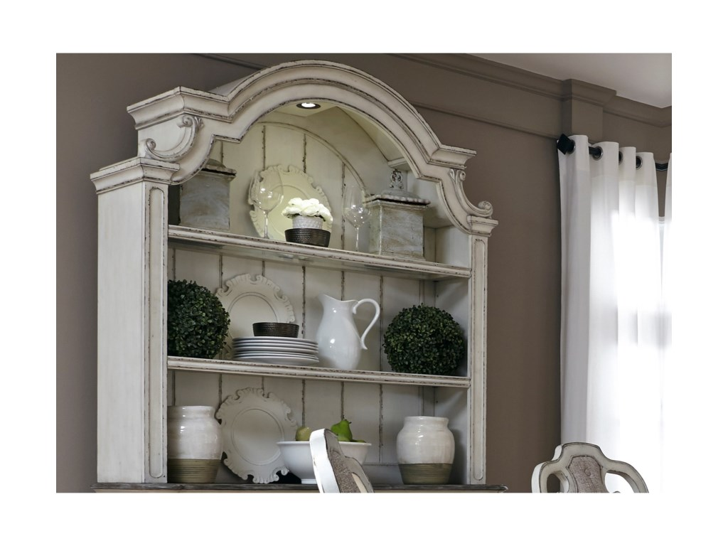 Liberty Furniture Magnolia Manor Dining2 Shelf Hutch with Touch Lighting