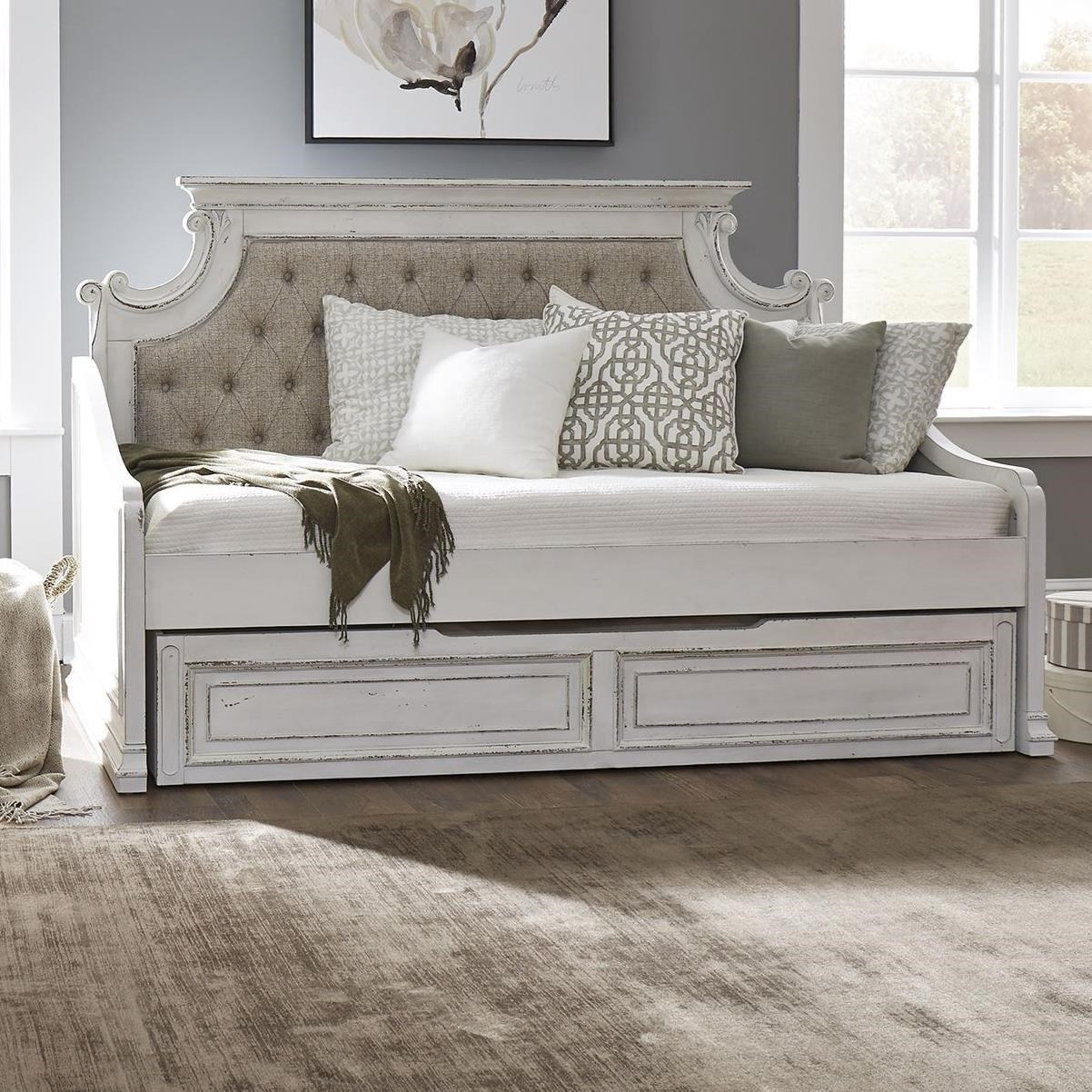 Twin Trundle Daybed with Tufted Upholstered Back