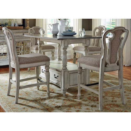 Liberty Furniture Magnolia Manor Dining Rectangular Gathering Table and Chair Set