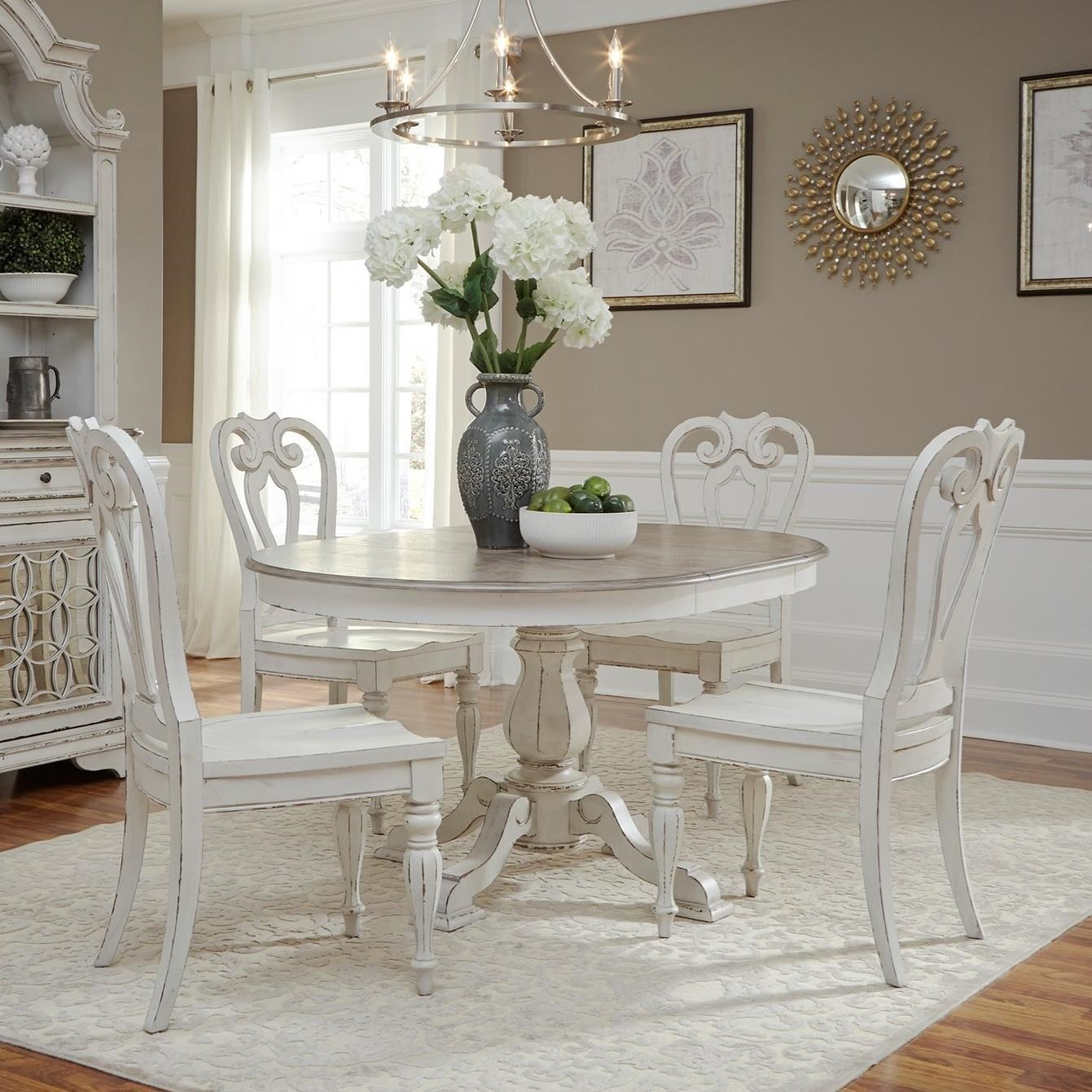 Picture of: Liberty Furniture Magnolia Manor Dining Traditional Five Piece Chair And Table Set Royal Furniture Dining 5 Piece Sets