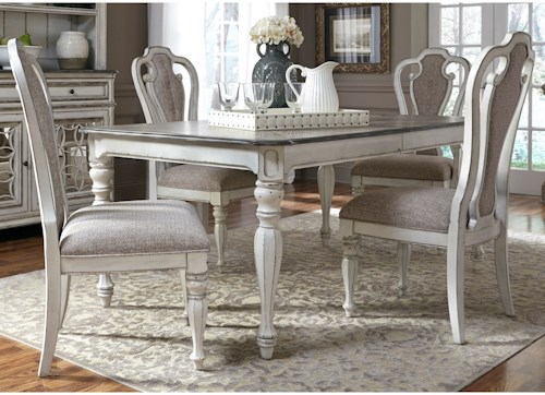 Liberty Furniture Magnolia Manor Dining 5 Piece Rectangular Table Set with Leaf