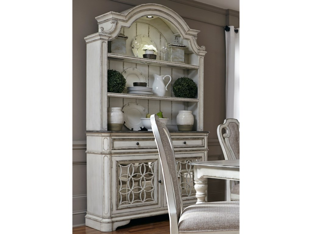 Liberty Furniture Magnolia Manor Dining Buffet And Hutch With Touch Lighting