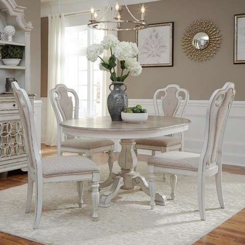 Liberty Furniture Magnolia Manor Dining Traditional Five Piece Chair and Table Set