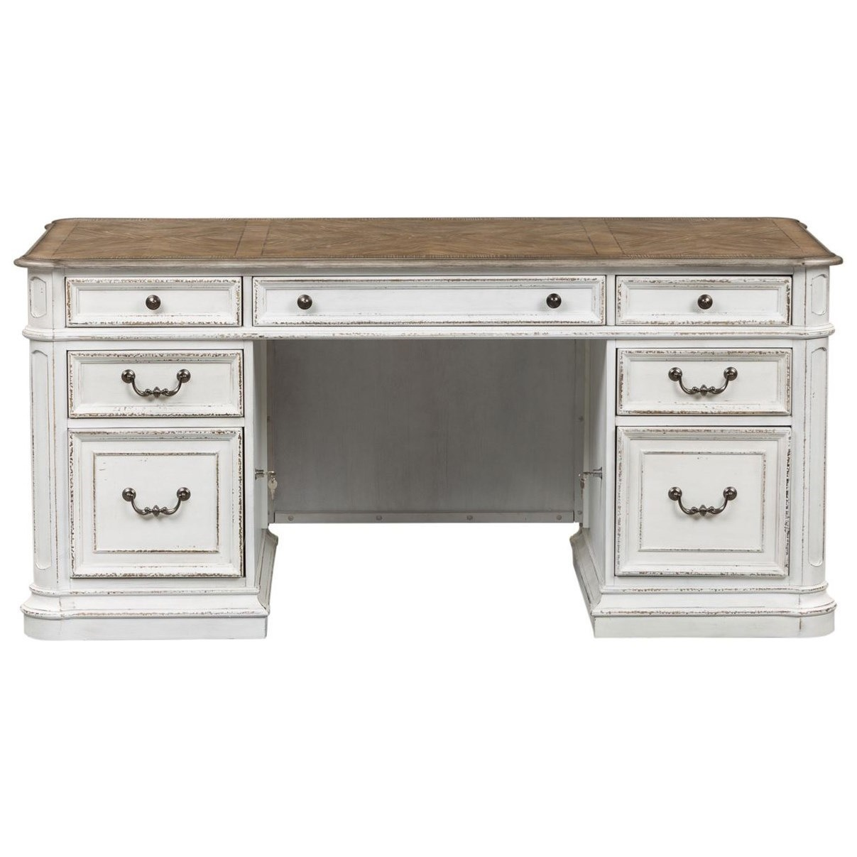 Bon Liberty Furniture Magnolia Manor Office Traditional Executive Desk With  Flip Down Keyboard Tray