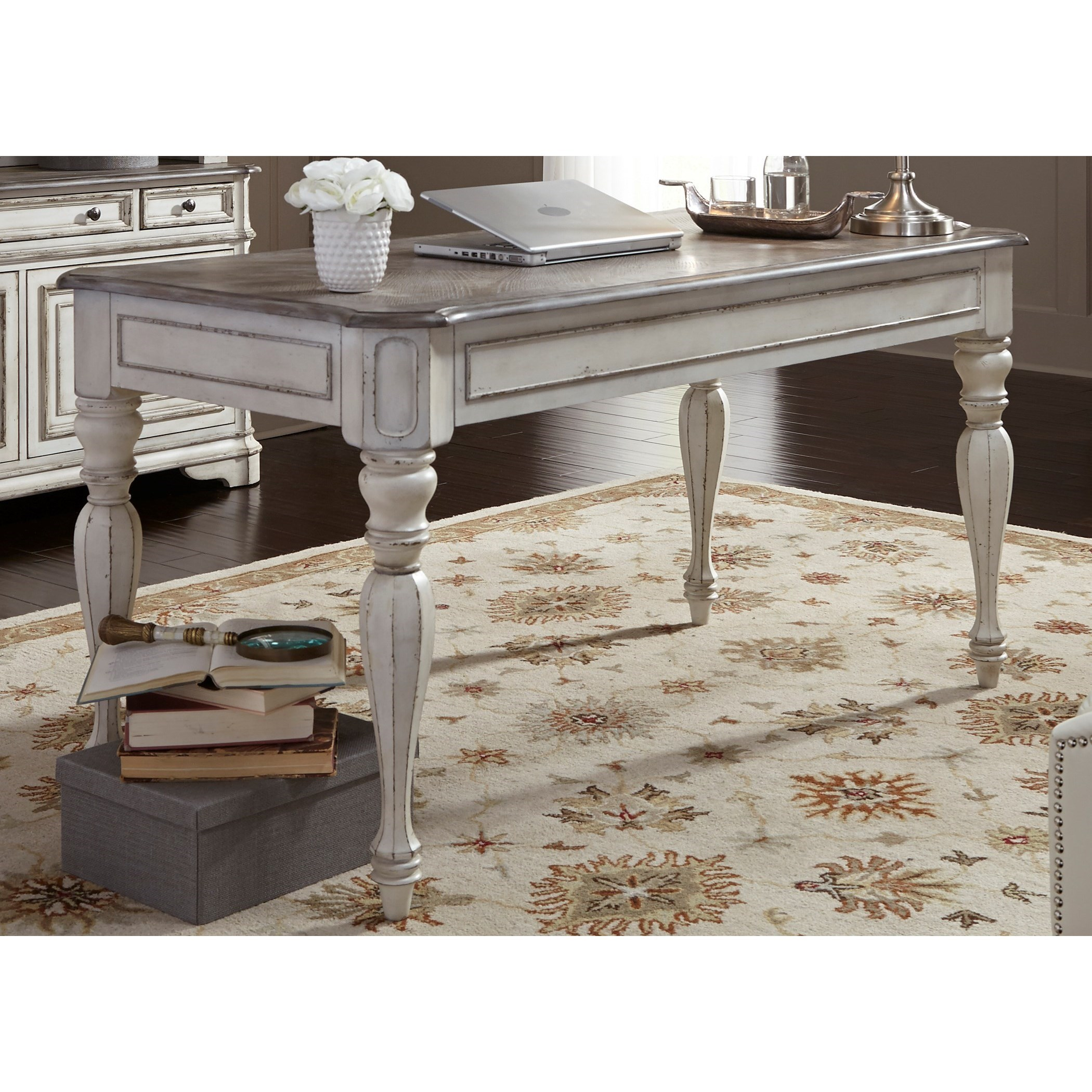 liberty furniture magnolia manor office writing desk with turned legs