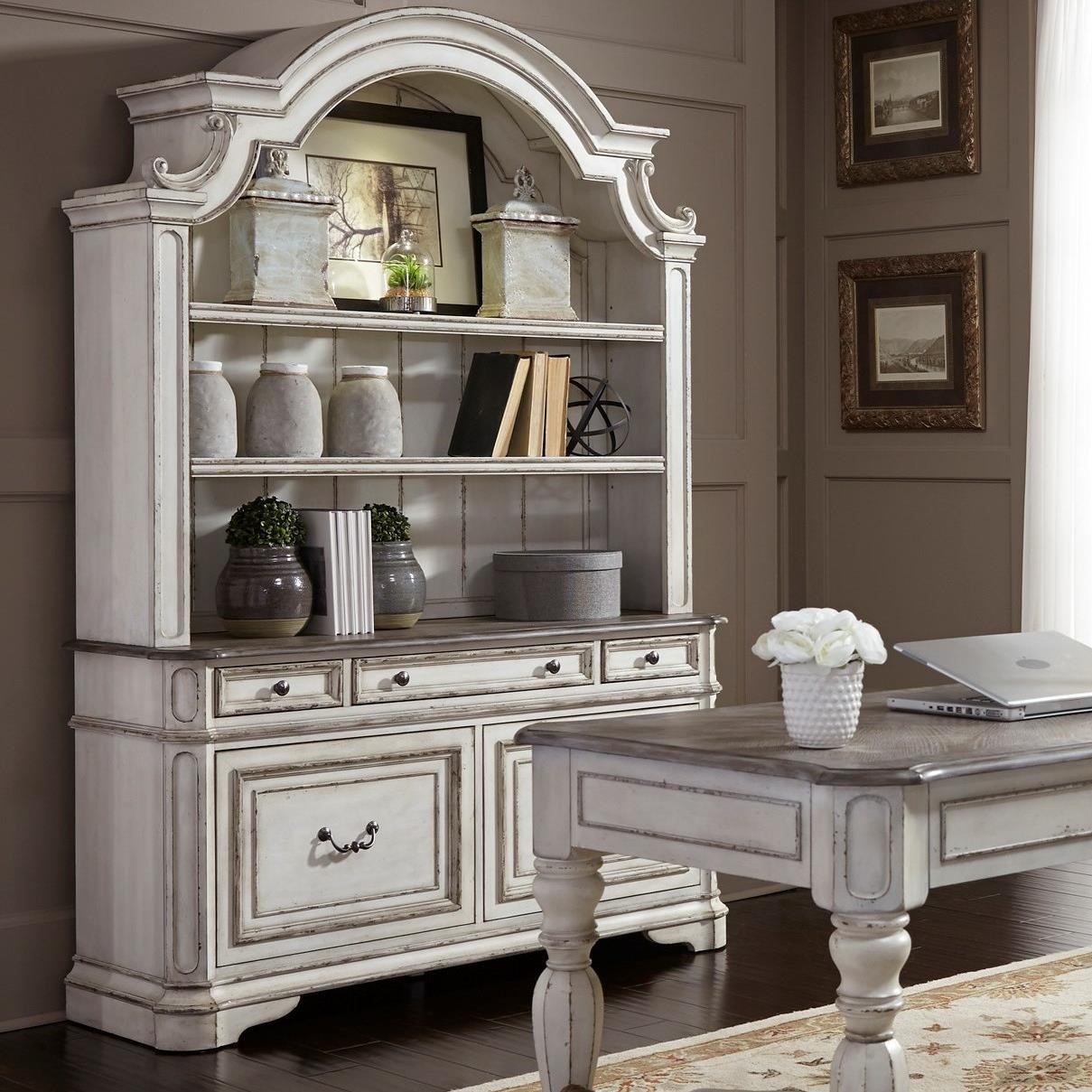 Beautiful Liberty Furniture Magnolia Manor Office Credenza And Hutch With Touch  Lighting
