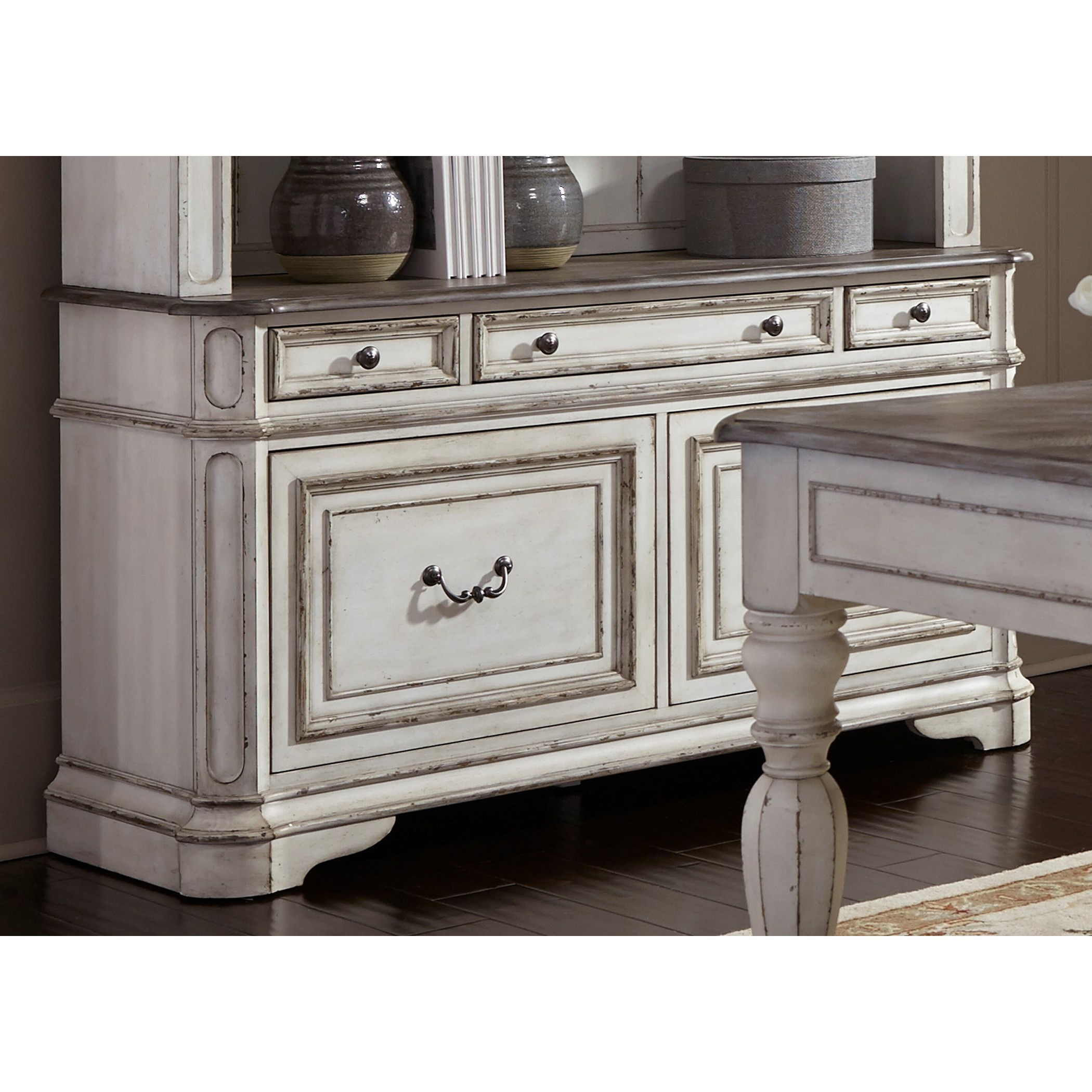 Liberty Furniture Magnolia Manor Office 5 Drawer Credenza With Wire  Management   Johnny Janosik   Storage Credenzas