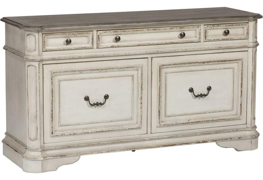 Magnolia Manor Office 5 Drawer Credenza With Wire Management By Liberty Furniture At And Liancemart