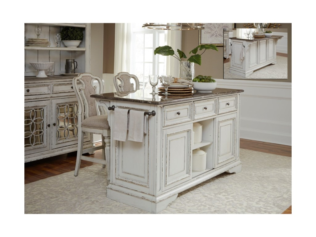 Magnolia Manor Dining Kitchen Island and Stool Set