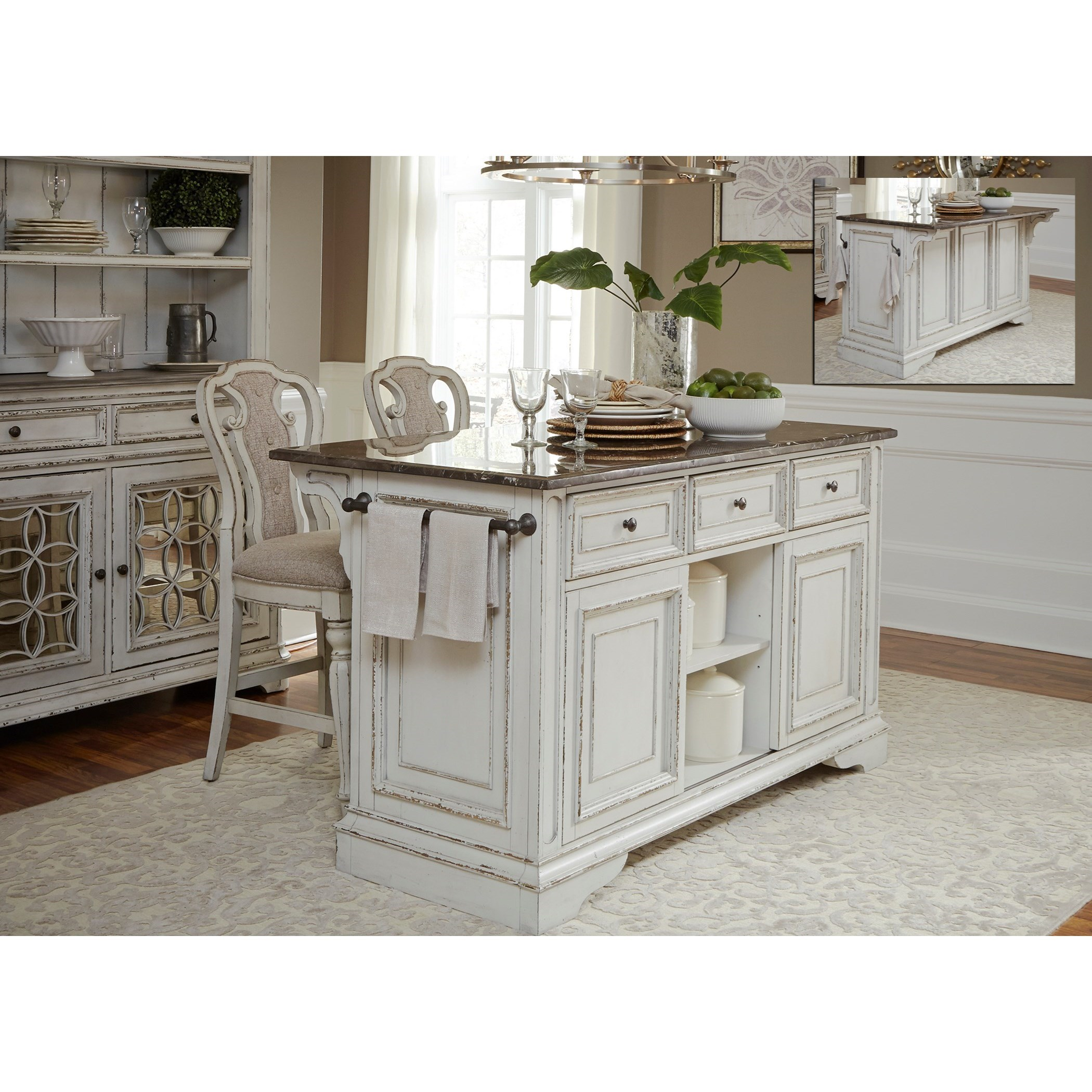 Liberty Furniture Magnolia Manor Dining Kitchen Island And Counter Height Stool  Set