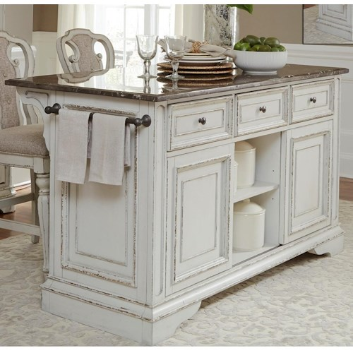 Liberty Furniture Magnolia Manor Dining Kitchen Island With Granite - Magnolia kitchen island