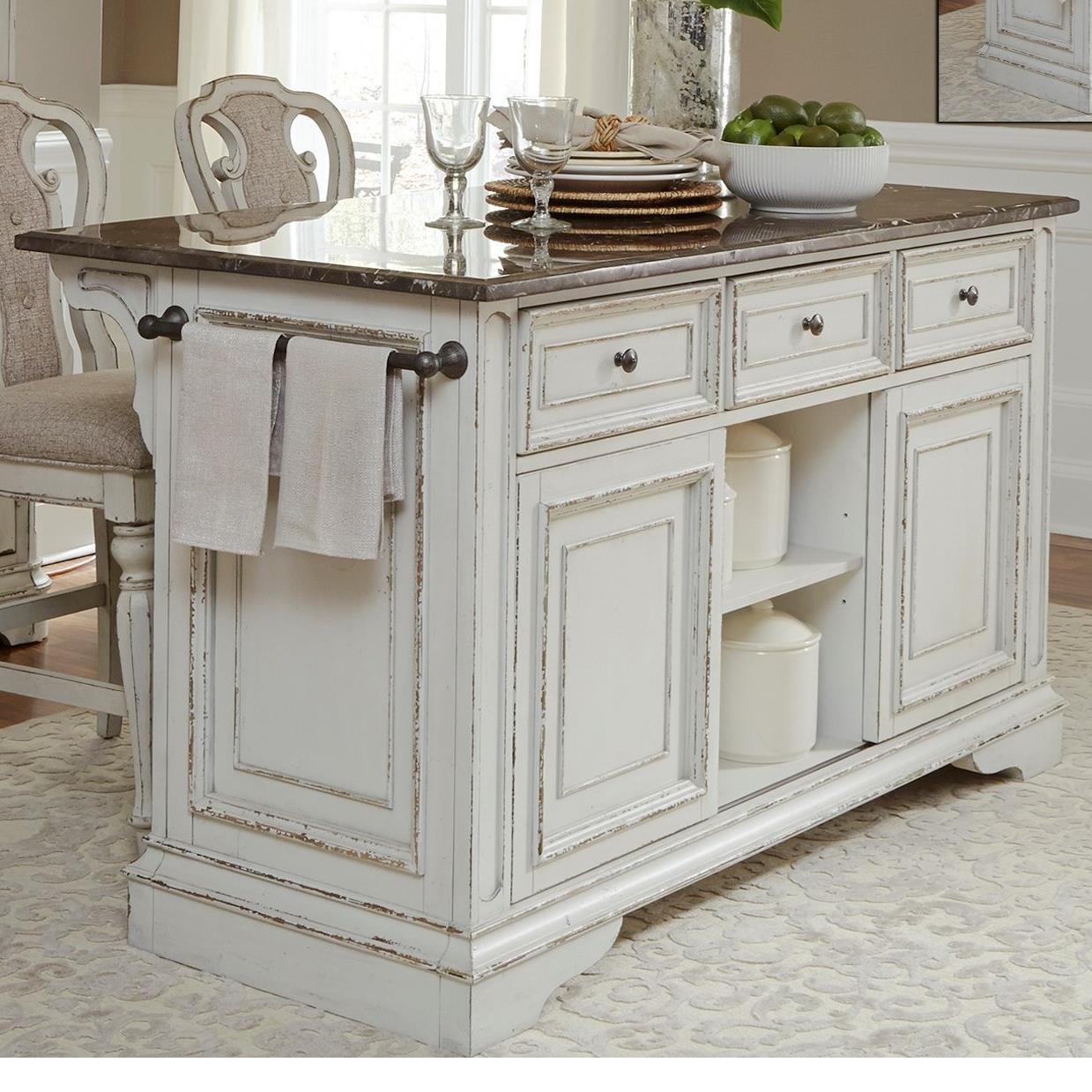 Sarah Randolph Designs Magnolia Manor DiningKitchen Island With Granite ...