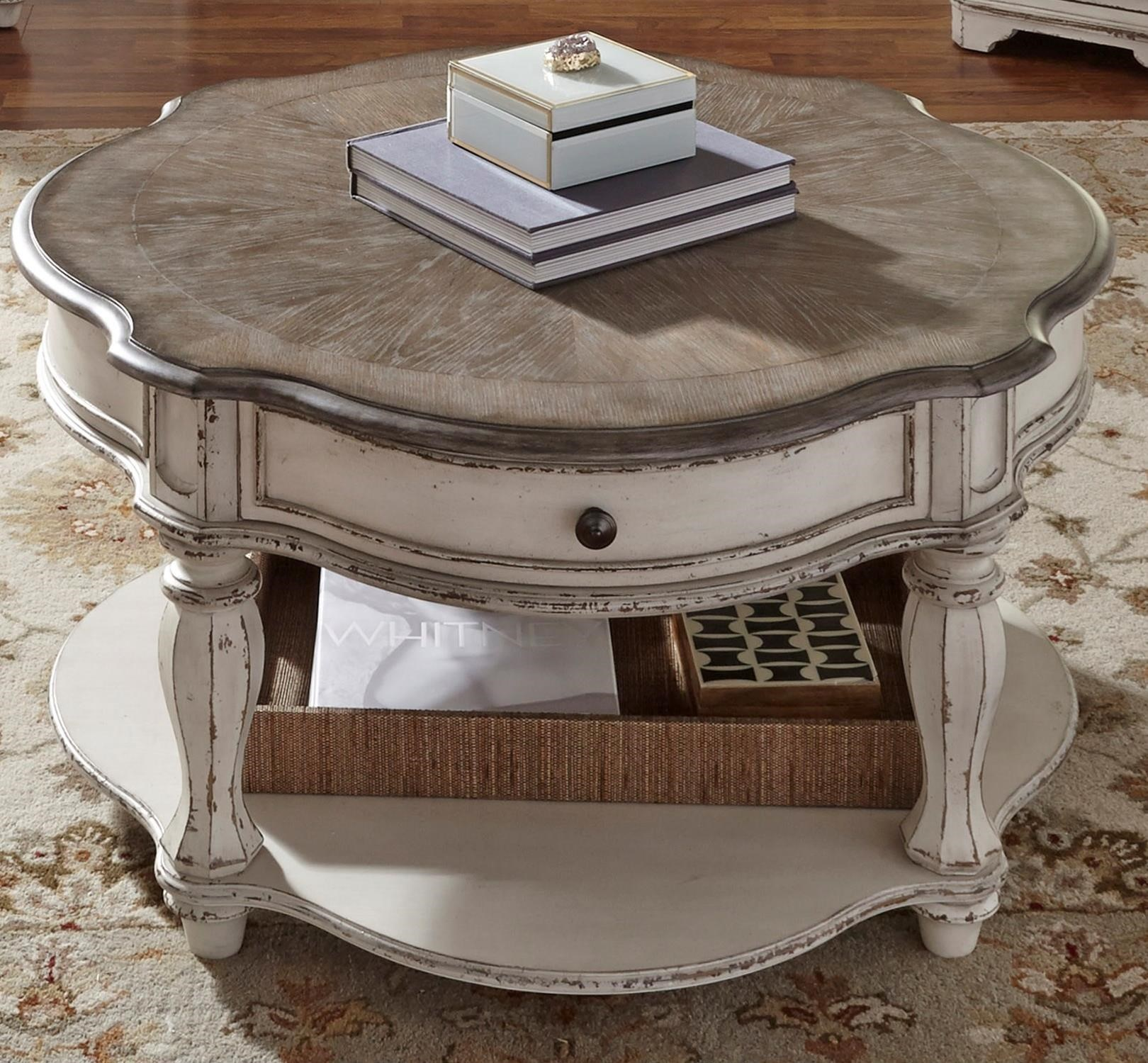 liberty furniture magnolia manor round cocktail table with casters