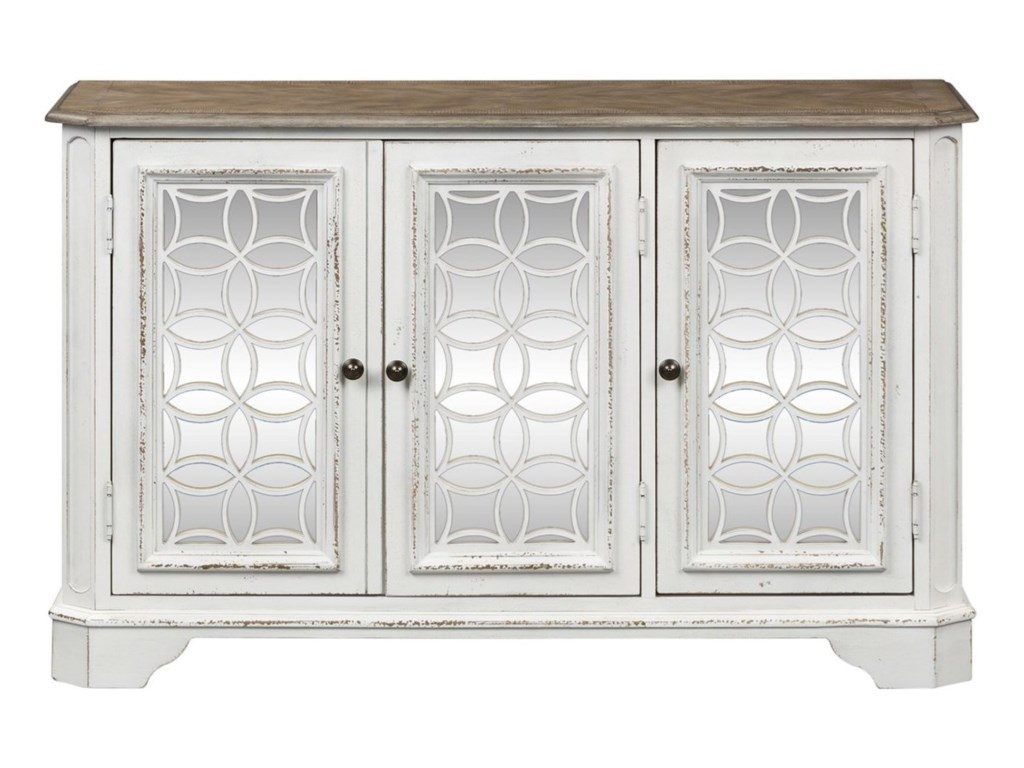 Magnolia Manor TV Console With Thee Antiqued Mirror Doors By Liberty Furniture