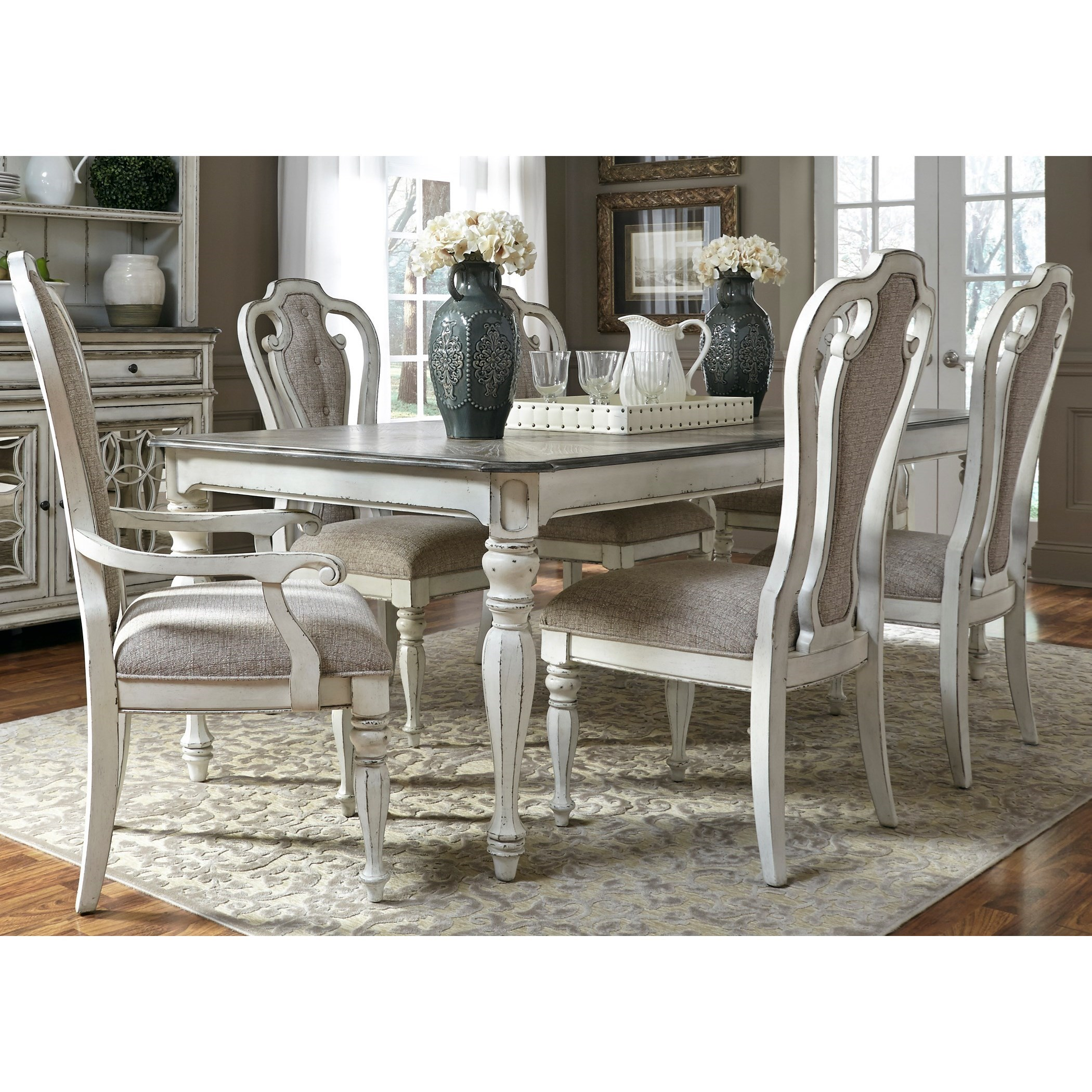 Magnolia Manor Dining 7 Piece Rectangular Table Set With Leaf By Liberty  Furniture
