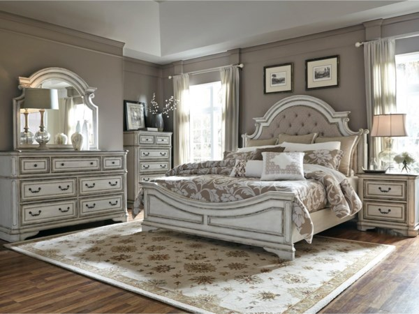 King Upholstered Bed, Dresser, Mirror & Nigh