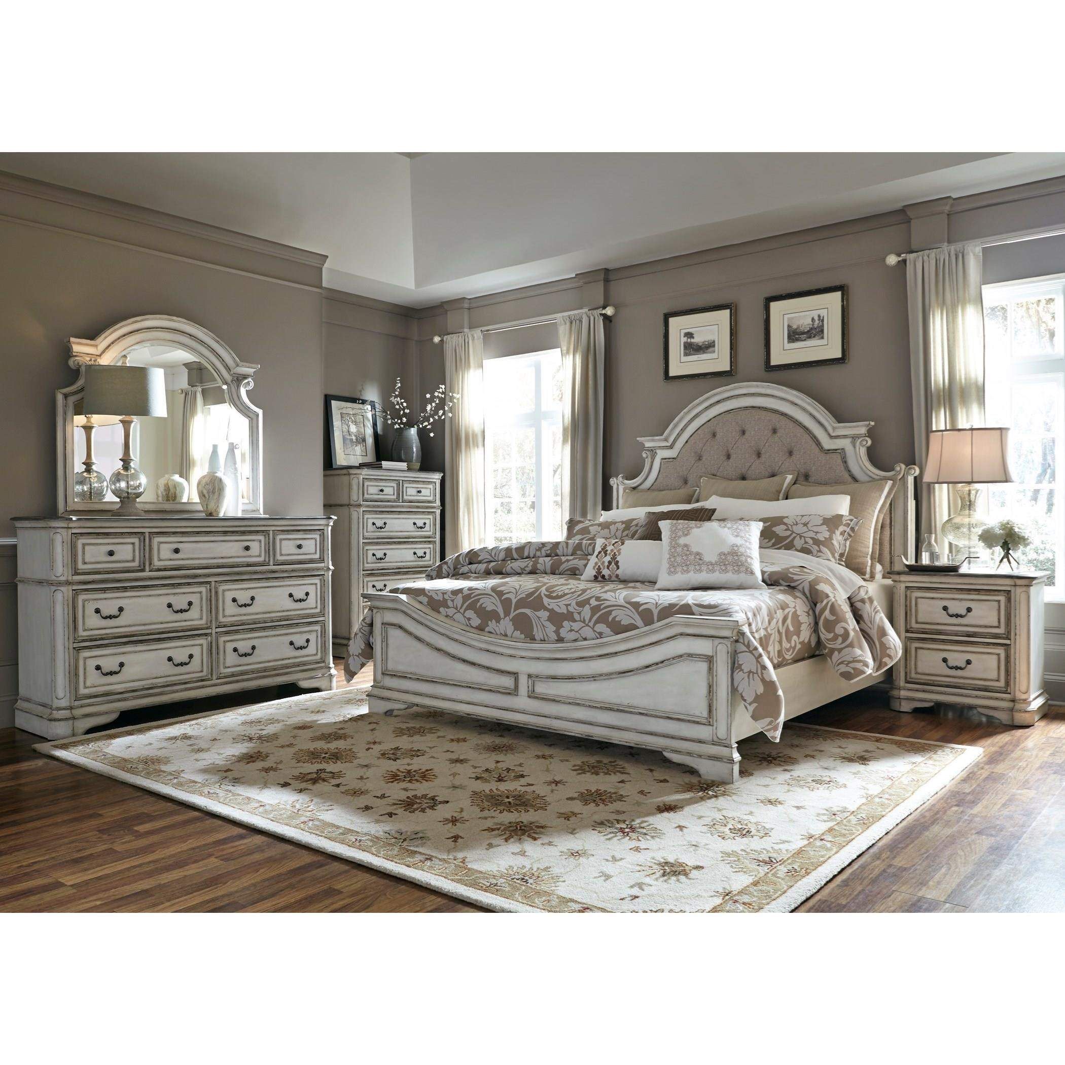 image great mirrored bedroom. Liberty Furniture Magnolia ManorKing Upholstered Bed, Dresser, Mirror \u0026 Nigh Image Great Mirrored Bedroom O
