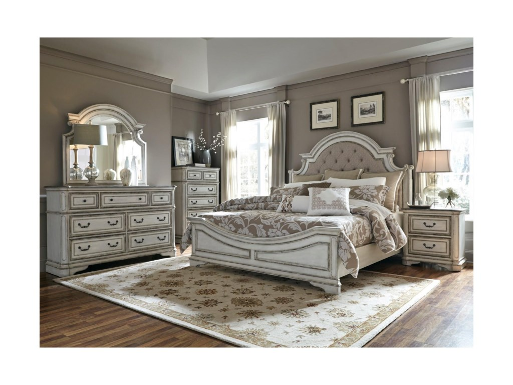 Liberty Furniture Magnolia ManorKing Upholstered Bed, Dresser, Mirror & Nigh