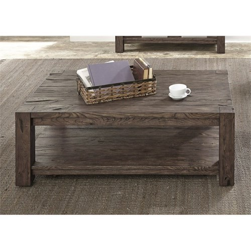 Liberty Furniture Mercer Court Occasional Cocktail Table with Shelf
