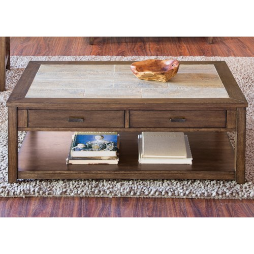 Liberty Furniture Mesa Valley Occasional Cocktail Table with Ceramic Tile Top