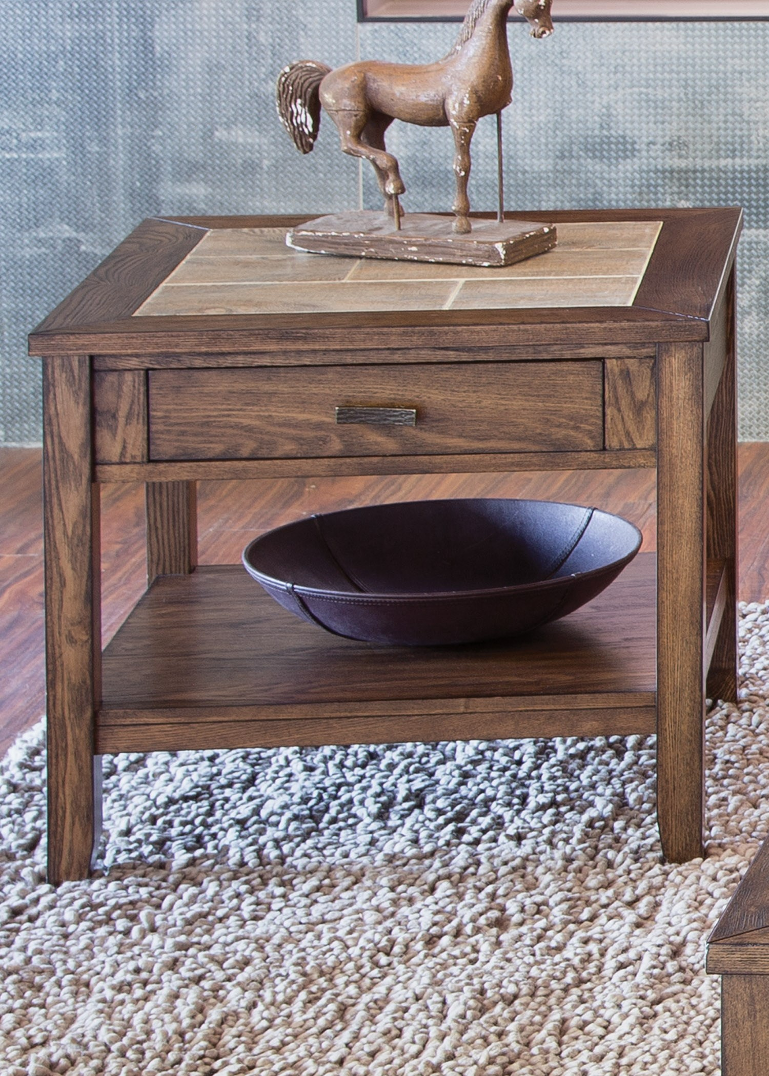 End Table with Ceramic Tile Top