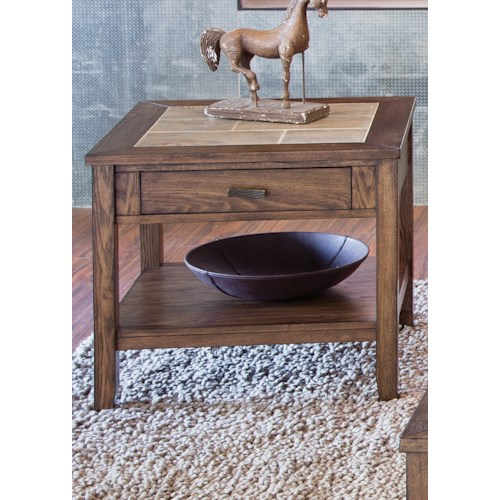 Liberty Furniture Mesa Valley Occasional End Table with Ceramic Tile Top