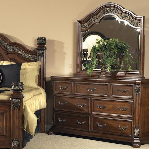 Liberty Furniture Messina Estates Traditional 7 Drawer Dresser and Mirror Combo