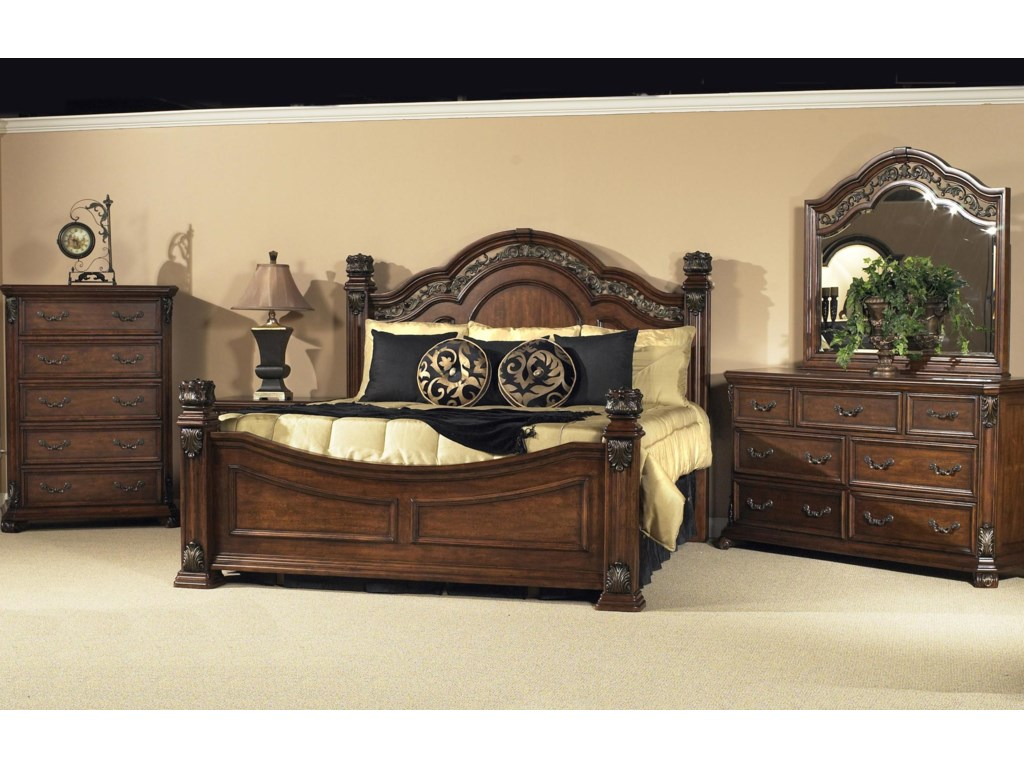 Shown in Room Setting with King Poster Bed and 7 Drawer Dresser with Mirror